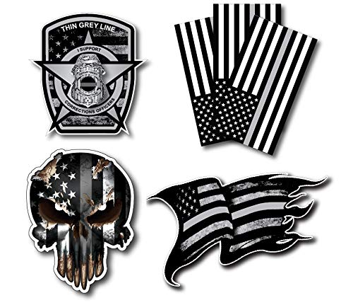 Variety Pack of Thin Silver Line Corrections Officer CO Prison Decal Vinyl Sticker American Flag Car Truck(6 Pack)