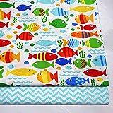 QINQ Tela Estampada de Sarga de algodón para bebés de Peces Impresos por Medio Metro para Coser sábanas, Ropa de Cama, Tela de algodón, Onda, 50x80 cm