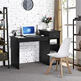 Topeakmart Modern Compact Computer Desk Study Writing Table Workstation with Drawers and Printer Shelf for...