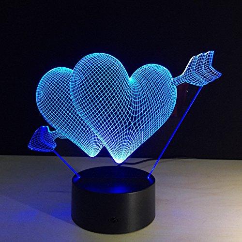 Alimenté par USB Illusion 3D Heart Love Arrow Gift LED Night Light 7 Couleurs Changing Desk Desk Deco Lamp Chambre à coucher Enfants Salle de nuit décorative Cadeaux de vacances de jouet