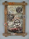 TD Holzbild mit Blechschilder und Emblemen US Deko Route 66