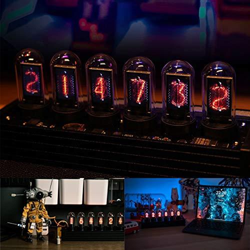 TWSOUL LED Nixie Uhr, Nixie Tube Clock, LED-Uhr, DIY Nixie Röhrenuhr, LED Digitaluhr 20 Modus, DIY Customized Photo Display, Digital Retro Vintage Uhr mit USB-Kabel Creative Geschenk