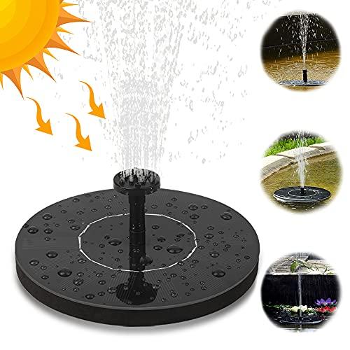 Solar Springbrunnen, Nasharia 1.5W Solar Teichpumpe mit 6 Fontänenstile Solar Wasserpumpe Solar Schwimmender Fontäne Pumpe für Gartenteich Fisch-Behälter Kleiner Teich