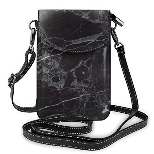 XCNGG Soft PU Leather Crossbody Bag Cell Phone Purse Wallet with Shoulder Strap Womens Crossbody Shoulder Tote Handbag Pouch (White Black Marble Texture)