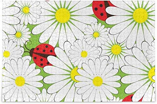 Rompecabezas para adultos 1000 - Mariquitas Verano Flores Difícil Puzzles Piezas para tag2 tag1 Juegos de Puzzle