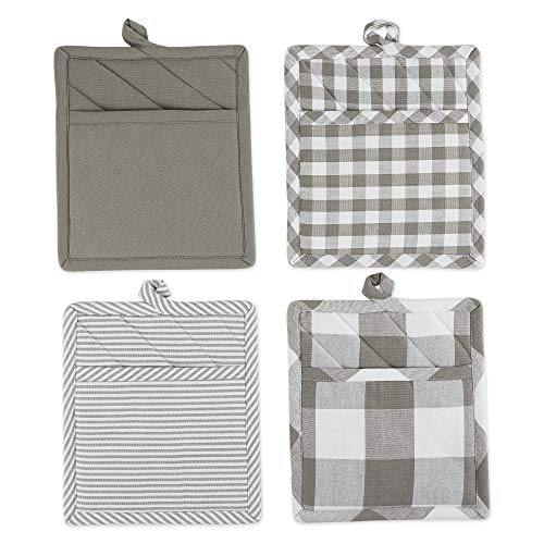 DII Gingham Check Collection Potholder Set Gray 4 Count