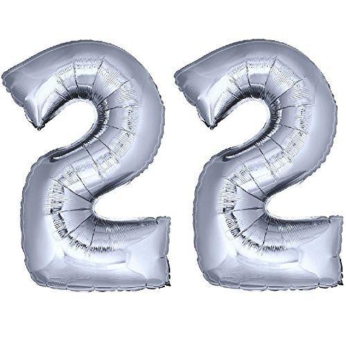 DekoRex® Folienballon Zahlenballon Heliumballon Luftballon Geburtstag Deko 100cm Zahl Silber 22