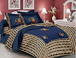 DreamSleep Hand Made Embroidery Patch Work Cotton Bedsheet( Double Bed Queen Size Bad Sheet) with 2 Pillow Covers 100%...