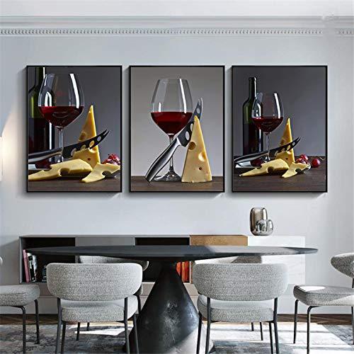 MECIKR Moderno romántico Vino Tinto en la Copa y Carteles de Queso Impresiones en Lienzo Pintura Cocina Decoración del hogar Cuadros de Pared Sala de estar-30x40cmx3 Sin Marco