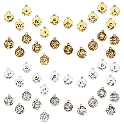 SUNNYCLUE 48 colgantes de aleación de 2 colores con 12 letras del signo de constelación de doble cara, esmaltados, redondos, de metal, para hacer joyas, collares, pulseras, pendientes, accesorios