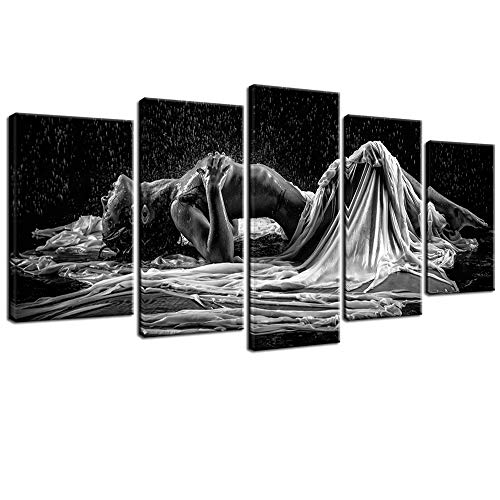 sechars - Sexy Woman Canvas Wall Art Black and White Art Woman Girl in Rain Picture Canvas Prints Modern Bedroom Hotel Wall Decoration Portrait Artwork Framed Ready to Hang
