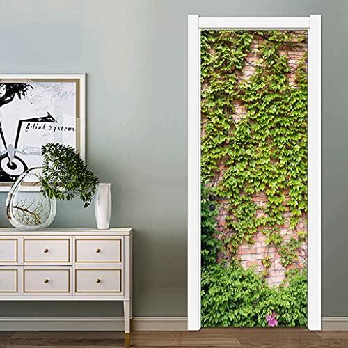 NXCNTD 3D Etiqueta De La Puerta Enredaderas de árboles verdes junto a la pared. Impermeable Extraíble Bricolaje Pintura Mural Murales Autoadhesivos Papel Tapiz Interiores Puerta Del Dormitorio Decorac