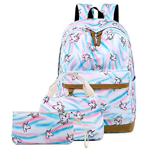 School Backpacks for Teen Girls Kids Student Backpack School Bookbags Set (White- Unicorn)