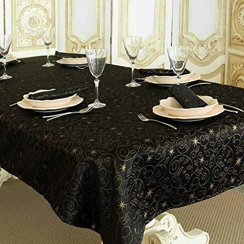 BGEUROPE Mantel antimanchas, diseño de estrellas navideñas, color negro y dorado (150 x 150 cm)