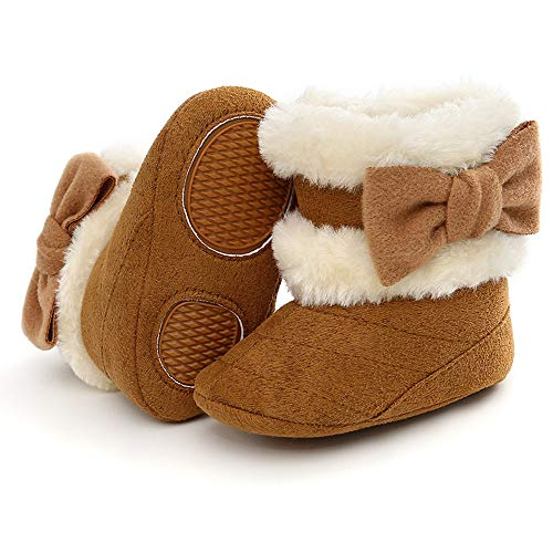 Baby Boy Girl Boots Newborn Shoes Winter Snow Bowknot Anti-Slip Soft Sole Warm Infant Toddler Prewalker Booties(02 Black, 12-18Months)