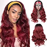 Arenshxc Headband Wig Ombre Human Hair Wigs Black to Burgundy Glueless Wig Body Wave Unprocessed Virgin Hair Wigs Dark Red Human Hair Wigs Nautral Hairline Ombre Hair Wigs 14 pouce