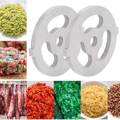 Cuchilla para Picar Carne, Cuchilla para Picar Carne, Acero Inoxidable 304 2 unids/Set para picadoras de Carne con Orificio Cuadrado 5# picadora(7MM Big Three-Hole Mesh Knife)