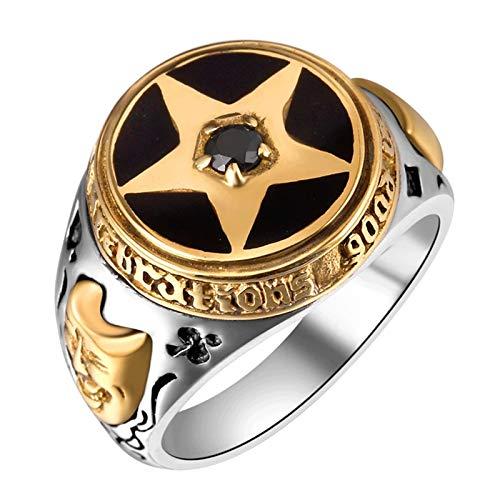 HQLCX Anillos de Los Hombres, 925 Ornamento de Plata Thai Silver Pentagram Black Zircon Anillo de Plata Restauración Antigua,11