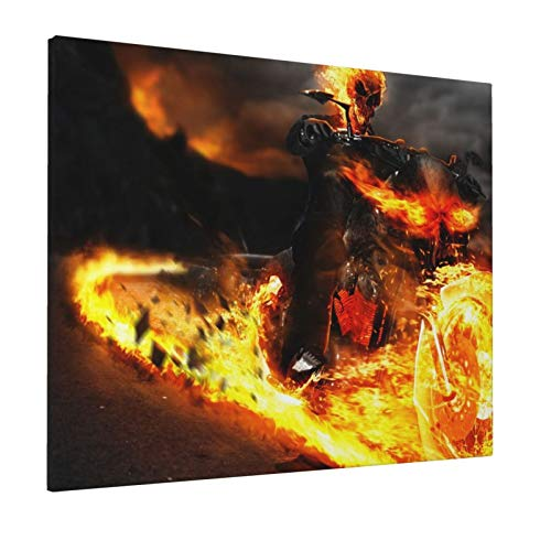 Uangerl Ghost Rider 16x20 Inch Decorative Arts Oil Painting On Canvas Hd Modern Home Posters Picture Walking Wall Artwork for Living Room Bedroom Decoration