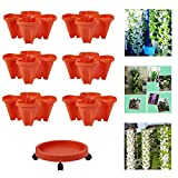 Stand Stacking Planters Strawberry Planting Pots - Stackable Vegetable Melon Fruit Planting Pot,Vertical Gardening Planter Stackable Flower Pot Tower,Multi-Layer Garden Pots,For Indoor Ourdoor,Red,1*