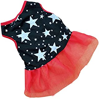 Pet Apparel,Puppy Dress Gauze Patchwork Star Pattern Print Tank Top Comfy Costume Clothes for Small Dog,Cats