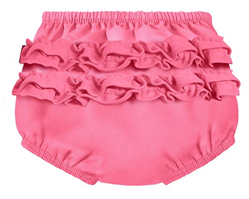 City Threads Baby Girls' Ruffle Swim Diaper Cover Reusable Leakproof for Swimming Pool Lessons Beach, Bubblegum, 0/3m