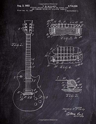 Gibson Guitar Notebook: Gibson Les Paul Guitar Blueprint Journal Diary, 120 Music Sheet Pages, 8.5x11 Inches, Chalkboard Cover