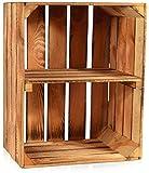 CHICCIE Geflammte Obstkisten - Kurze Ablage Holzkisten Weinkisten Holz Kisten Apfelkisten Obstkiste Gebrannt 50 x 40 x 30cm