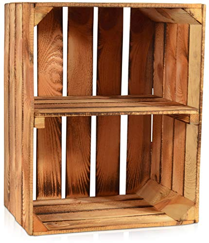Chiccie Gevlamde fruitkisten, korte plank, houten kisten, wijnkisten, hout, appelkisten, fruitkisten, gebrand, 50 x 40 x 30 cm