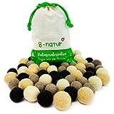 8-Natur Mezcla de 50 bolas de fieltro de 2,2 cm de grosor de pura lana merino para manualidades de guirnaldas, móviles y alfombra de bolas de fieltro o simplemente para decoración.