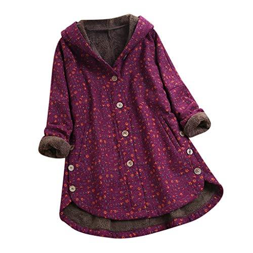 Winterjas voor dames met bloemenpatroon, grote maat, capuchonpullover, casual, knoop, pullover, lange mouwen, kleding houdt warm