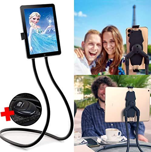 Flex'n'Chill Pro Nacken Handy- und Tablethalter mit Bluetooth Selfie Fernbedienung, Universelle Handy- und Tablethalterung für Smartphones wie iPhone, Samsung, Huawei und für Tablets wie iPad, Surface