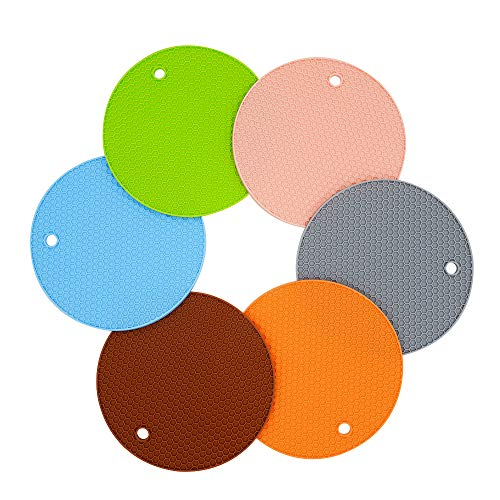 LZYMSZ 6 Packungen Silikon-Topflappen-Untersetzer, rutschfeste Silikon-Isoliermatte, hitzebeständige Untersetzer für Arbeitsplatte, Topflappen, zufällige Farbe