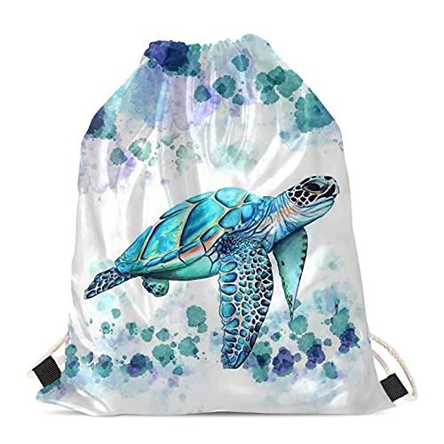 Aqua Sea Turtle - Bolsa de natación con cordón para niños y niñas, bolsa de cincha deportiva de polietileno, mochila hippie Tie Dye Draw String bolsa azul