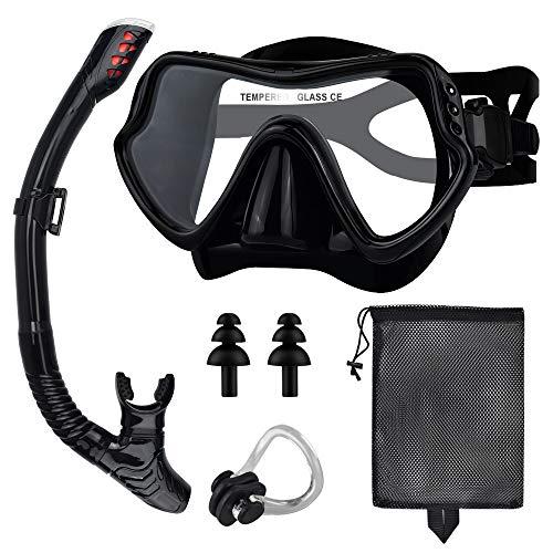 Snorkel Mask Set, Anti-Fog Freediving Mask & Dry Snorkel, Free Breathing Anti-Leak Dry Top Snorkel,...