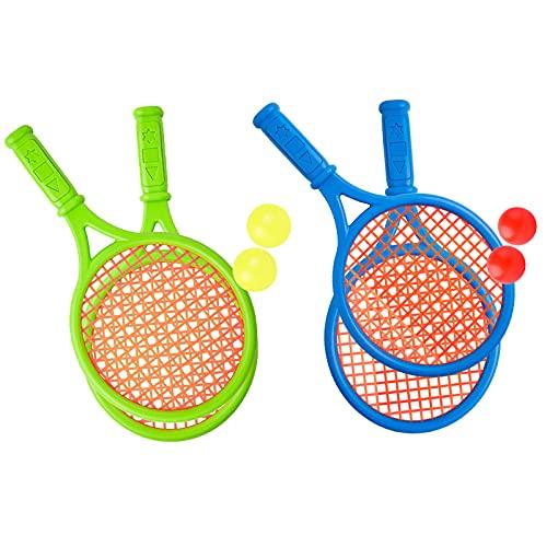 Raquetas Tenis de PláStico Raqueta de Tenis para NiñOs con 4 Raquetas, 4 Pelotas de Tenis, 26.5 * 14 cm, Adecuada para Que Los NiñOs Jueguen Juegos Interactivos Al Aire Libre o En Interiores