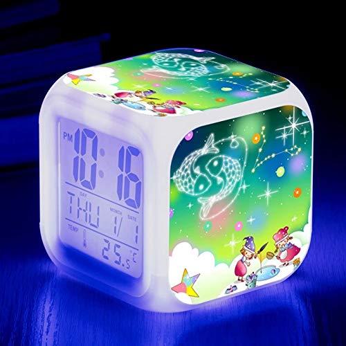 fdgdfgd Reloj del Zodiaco 3D Reloj LED Reloj de Dibujos Animados para niños Números para niños con termómetro Fecha Despertador