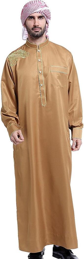 GladThink Hombres Thobe con Mangas largas árabe Desgaste musulmán
