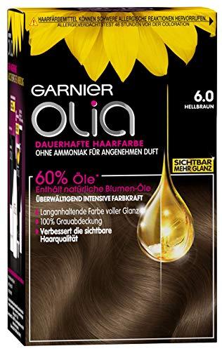 Garnier Olia Haar Coloration Hellbraun 6.0 / Färbung für Haare enthält 60% Blumen-Öle für intensive Farbkraft - Ohne Ammoniak - 3 x 1 Stück
