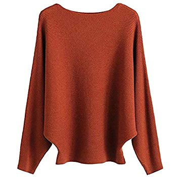 EDSTAR Boat Neck Batwing Sleeves Dolman Knitted Sweaters Autumn/Winter Pullovers Tops for Women Caramel