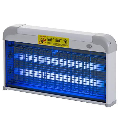 Outsunny Lampe UV Anti-Insectes Anti Moustique Tue Mouche électrique destructeur d insectes 30 W Noir Gris