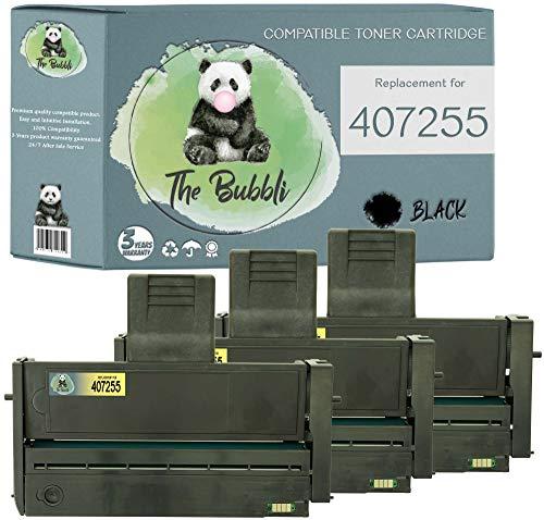 The Bubbli Original | 407254 407255 Tóner Compatible para RICOH SP200 SP213W SP211 SP204SFN SP201N SP204SN SP201 SP204SF SP210 SP213SUW SP204SFNW (3 Negro)