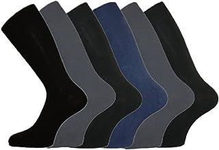 Mens Cotton-Lycra Comfy Grip Top Everyday Socks 6 Pack - Mix Darks - 6-11