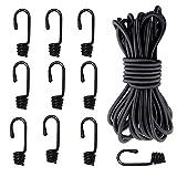 AFASOES Pulpos Elásticos Transporte 8 mm x 10 m Tensor Cuerda Elástica Cuerda Elástica Negra 33...