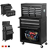 June Win 8-Drawer Rolling Tool Chest,Big Tool Storage Removable,Tool Cabinet with Lockable Drawers, Mobile Toolbox for Workshop and Mechanics Garage (Black)