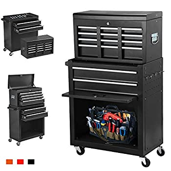 June Win 8-Drawer Rolling Tool Chest,Big Tool Storage Removable,Tool Cabinet with Lockable Drawers Mobile Toolbox for Workshop and Mechanics Garage  Black