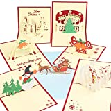 Happy Will 3D Christmas Cards Xmas Pop Up Cards,Christmas Card PostCards Handmade Thank You Greeting Cards with 7 Envelopes for Holiday Christmas Valentine Day Gifts(7Pcs,B)