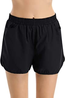 WESTECHO Women's Athletic Running Shorts Active Sports Shorts with Side Pockets