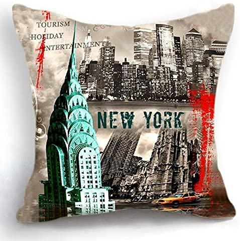 Telisha - Funda de cojín para decoración del hogar (45 cm), diseño retro de la ciudad de Nueva York