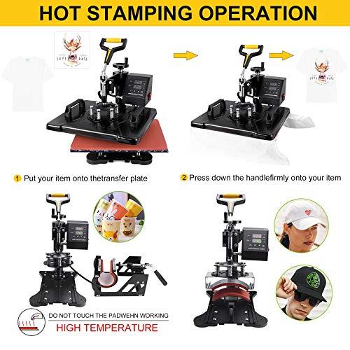 Seeutek Pro 8 in 1 Heat Press Machine 12x15 inch 360-Degree Swing Away Digital Heat Transfer Multifunction Sublimation Combo for T Shirts Mugs Hat Plate Cap